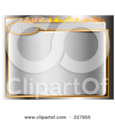 Royalty-Free (RF) Clipart Illustration of a Chrome Racing Background With Orange Trim And Flames by Andy Nortnik