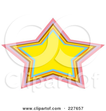 Royalty-Free (RF) Clipart Illustration of a Yellow Urban Star Frame With Colorful Trim by Andy Nortnik