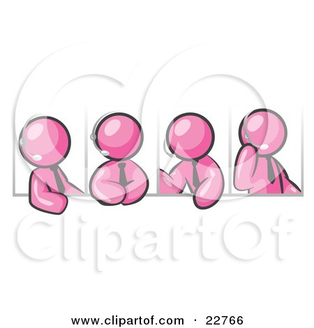 Clipart Illustration of Four Different Pink Men Wearing Headsets And Having A Discussion During A Phone Meeting by Leo Blanchette