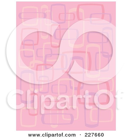 Royalty-Free (RF) Clipart Illustration of a Pink Retro Pattern Background Of Rectangles And Squares by Andy Nortnik