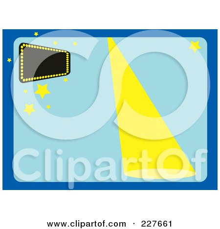 Royalty-Free (RF) Clipart Illustration of a Spotlight Shining Down On A Blue Background With A Marquee Sign by Andy Nortnik