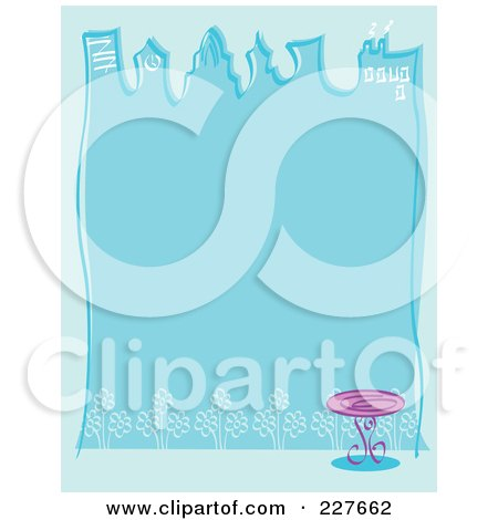 Royalty-Free (RF) Clipart Illustration of a Blue Background With Skyscrapers, A Table And Flowers by Andy Nortnik