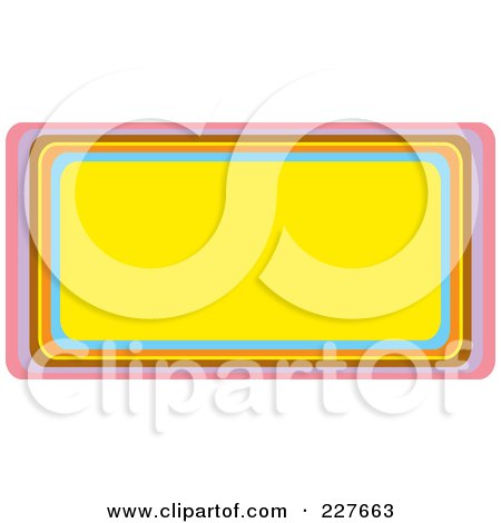 Royalty-Free (RF) Clipart Illustration of a Yellow Urban Horizontal Rectangle Frame With Colorful Trim by Andy Nortnik