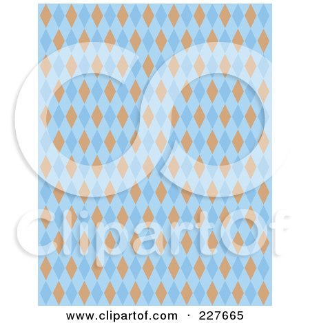 Royalty-Free (RF) Clipart Illustration of a Blue And Orange Diamond Argyle Pattern Background by Andy Nortnik