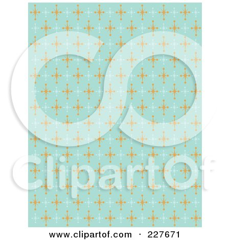Royalty-Free (RF) Clipart Illustration of a Blue Retro Pattern Background Of Orange And White Stars by Andy Nortnik
