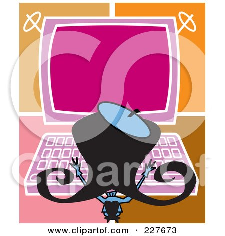 Royalty-Free (RF) Clipart Illustration of a Retro Woman Typing On A Large Computer by Andy Nortnik