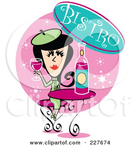 Royalty-Free (RF) Clipart Illustration of a Retro Woman Drinking Wine In A Bistro by Andy Nortnik