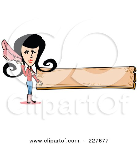 Royalty-Free (RF) Clipart Illustration of a Retro Cowgirl Woman Holding Her Hat And Standing By A Blank Wooden Sign by Andy Nortnik