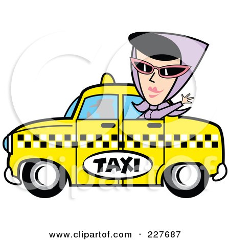 Royalty-Free (RF) Clipart Illustration of a Retro Woman Waving And Riding In A Taxi Cab by Andy Nortnik