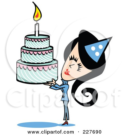 Royalty-Free (RF) Clipart Illustration of a Retro Woman Holding Up A Birthday Cake by Andy Nortnik