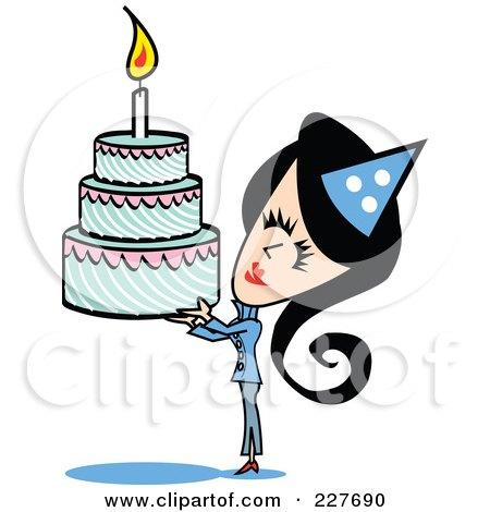 RoyaltyFree RF Clipart Illustration of a Triple Tiered Birthday