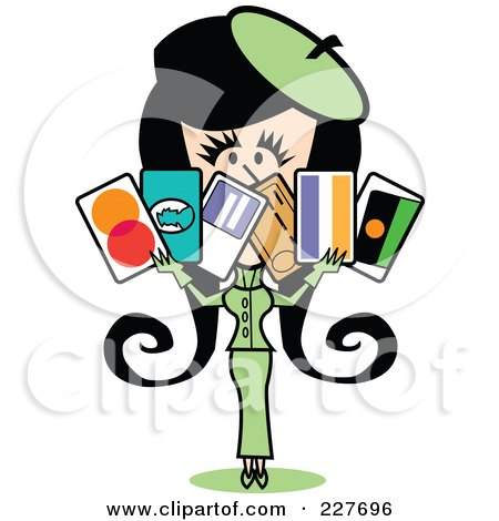 Royalty-Free (RF) Clipart Illustration of a Retro Woman In A Green Suit, Holding A Bunch Of Credit Cards by Andy Nortnik