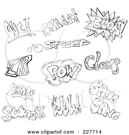 Royalty-Free (RF) Clipart Illustration of a Digital Collage Of Black And White Doodled Comic Words by yayayoyo