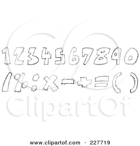 Royalty-Free (RF) Clipart Illustration of a Digital Collage Of Black And White Doodled Numbers And Math Symbols by yayayoyo