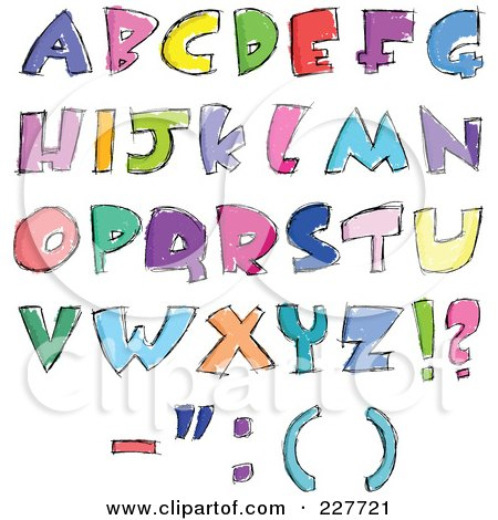 Royalty-Free (RF) Clipart Illustration of a Digital Collage Of Colorful Sketched Capital Letter Designs by yayayoyo