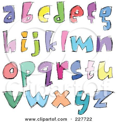 Royalty-Free (RF) Clipart Illustration of a Digital Collage Of Colorful Sketched Lowercase Letter Designs by yayayoyo