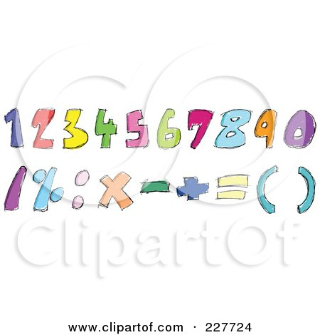 Royalty-Free (RF) Clipart Illustration of a Digital Collage Of Colorful Doodled Numbers And Math Symbols by yayayoyo