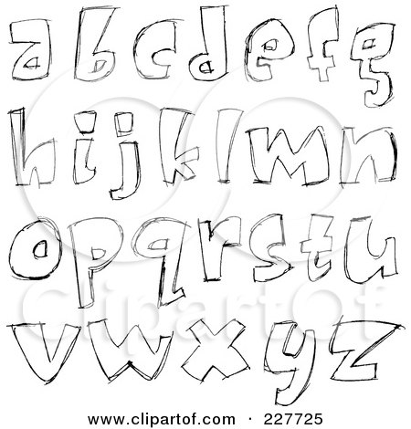 Royalty-Free (RF) Clipart Illustration of a Digital Collage Of Sketched Lowercase Letter Designs by yayayoyo