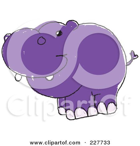 Royalty-Free (RF) Clipart Illustration of a Cute Doodled Purple Hippo by yayayoyo