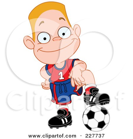Royalty-Free (RF) Clipart Illustration of a Happy Blond Boy Resting His Foot On A Soccer Ball by yayayoyo