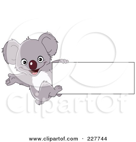 Royalty-Free (RF) Clipart Illustration of a Cute Baby Koala Hanging Off The Edge Of A Blank Sign by yayayoyo