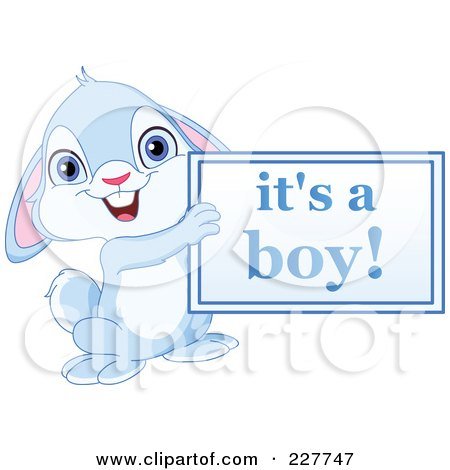 Royalty-Free (RF) Clipart Illustration of a Cute Blue Rabbit Holding An Its A Boy Sign by yayayoyo