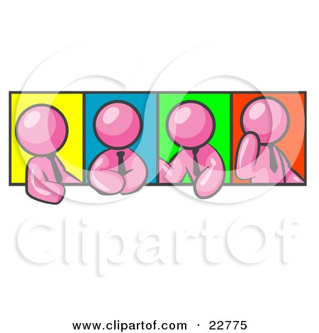Clipart Illustration of Four Pink Men In Different Poses Against Colorful Backgrounds, Perhaps During A Meeting by Leo Blanchette