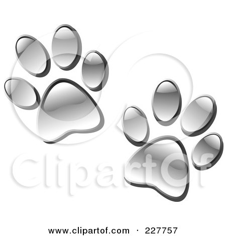 Royalty-Free (RF) Clipart Illustration of a Pair Of Chrome Paw Prints by yayayoyo