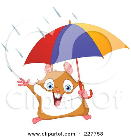 Royalty-Free (RF) Clipart Illustration of a Happy Hamster Holding An Umbrella In The Rain by yayayoyo