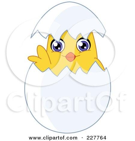 Royalty-Free (RF) Clipart Illustration of a Cute Chik Looking Through A Shell by yayayoyo