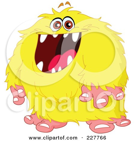 Royalty-Free (RF) Clipart Illustration of a Happy Hairy Yellow Monster by yayayoyo