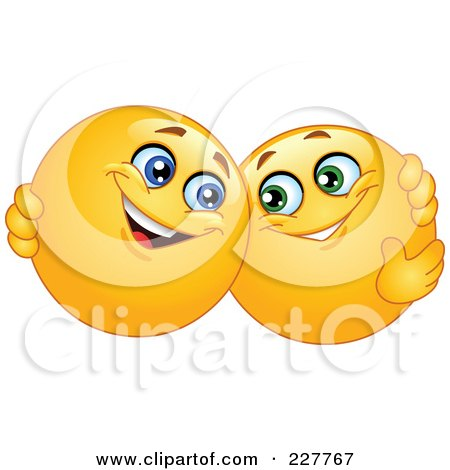 Royalty-Free (RF) Clipart Illustration of Yellow Smiley Face Emoticons Hugging by yayayoyo