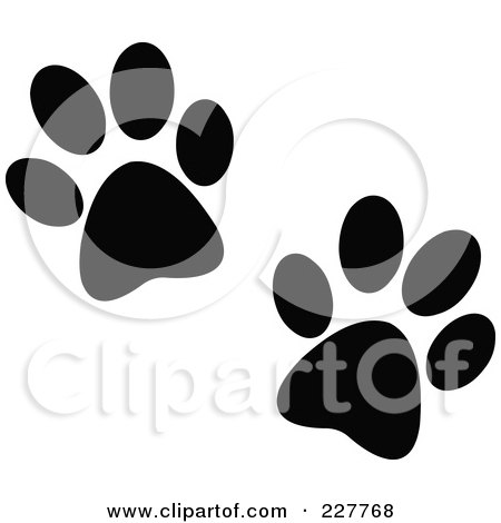 Royalty-Free (RF) Clipart Illustration of a Pair Of Black Paw Prints by yayayoyo
