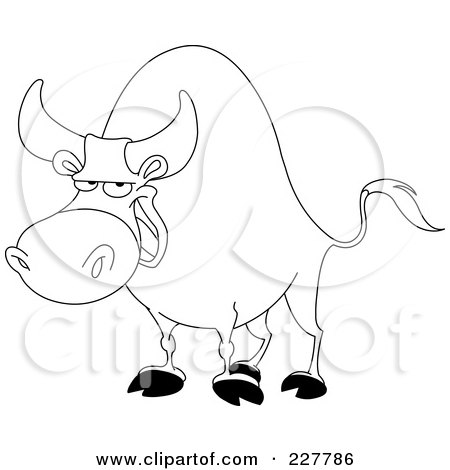 Royalty-Free (RF) Clipart Illustration of a Coloring Page Outline Of A Bull by yayayoyo