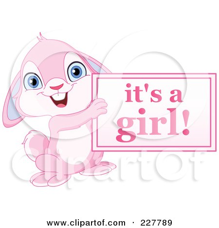 Royalty-Free (RF) Clipart Illustration of a Cute Pink Rabbit Holding An Its A Girl Sign by yayayoyo
