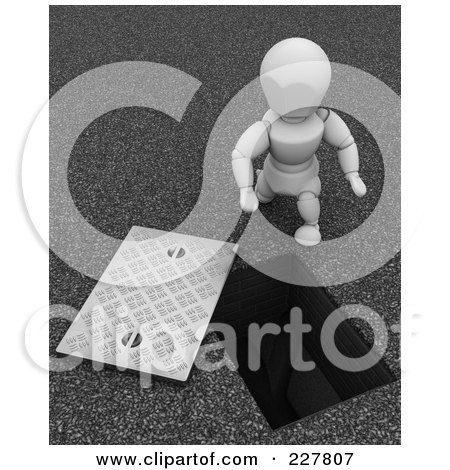 Royalty-Free (RF) Clipart Illustration of a 3d White Character Looking Down A Drainage Opening by KJ Pargeter