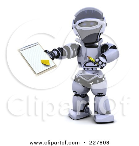 Royalty-Free (RF) Clipart Illustration of a 3d Robot Holding A Document On A Clipboard by KJ Pargeter