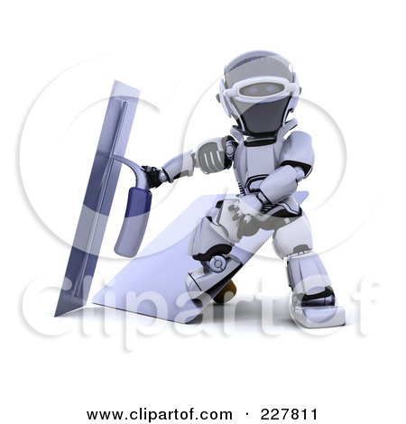 Royalty-Free (RF) Clipart Illustration of a 3d Robot Using Trowels by KJ Pargeter