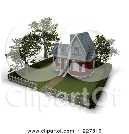 Royalty-Free (RF) Clipart Illustration of a 3d Victorian Styled Home With Trees, Lawn And A Picket Fence by KJ Pargeter