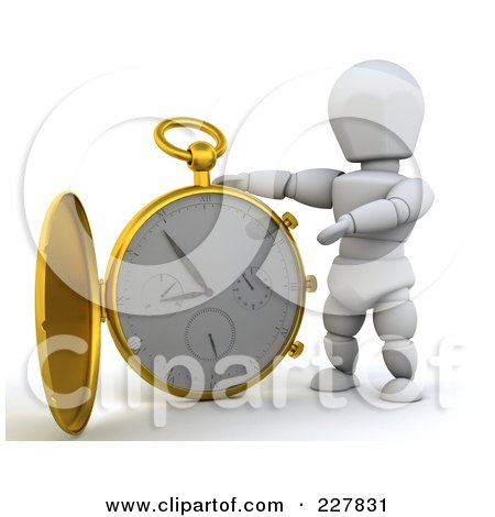 Royalty-Free (RF) Clipart Illustration of a 3d White Character With A Giant Pocket Watch by KJ Pargeter
