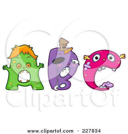 Royalty Free RF Clipart Illustration Of A Digital Collage Of Monster Letters A Through C