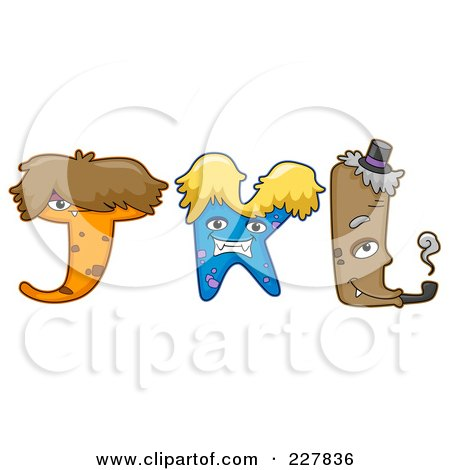 Royalty-Free (RF) Clipart Illustration of a Digital Collage Of Monster Letters, J Through L by BNP Design Studio