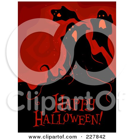 Royalty-Free (RF) Clipart Illustration of a Happy Halloween Greeting Under Spooky Ghosts On Red by BNP Design Studio