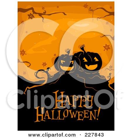 Happy Halloween Greeting Under Spooky Jackolanterns On Orange Posters, Art Prints