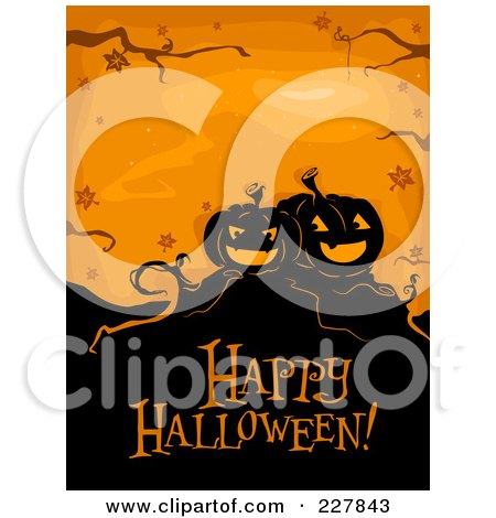 Royalty-Free (RF) Clipart Illustration of a Happy Halloween Greeting Under Spooky Jackolanterns On Orange by BNP Design Studio
