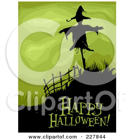 Royalty-Free (RF) Clipart Illustration of a Happy Halloween Greeting Under A Spooky Scarecrow On A Hill Over Green by BNP Design Studio