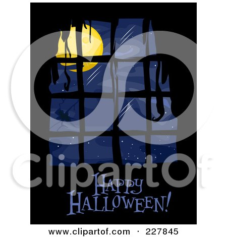Royalty-Free (RF) Clipart Illustration of a Happy Halloween Greeting Under A Creepy Window With Moonlight by BNP Design Studio