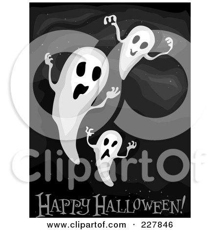 Royalty-Free (RF) Clipart Illustration of a Happy Halloween Greeting Under Spooky Ghosts On Black by BNP Design Studio