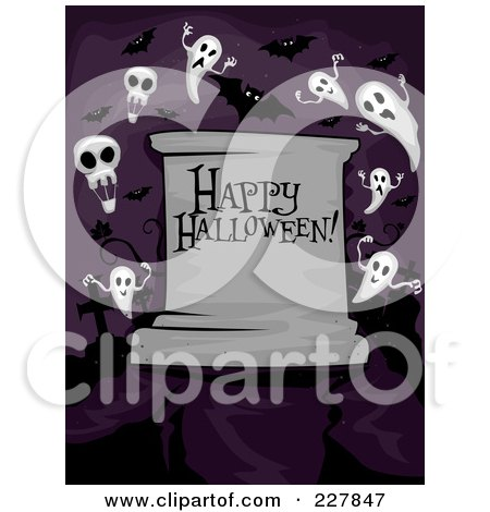 Royalty-Free (RF) Clipart Illustration of a Happy Halloween Greeting On A Tombstone With Ghosts In A Cemetery On Purple by BNP Design Studio