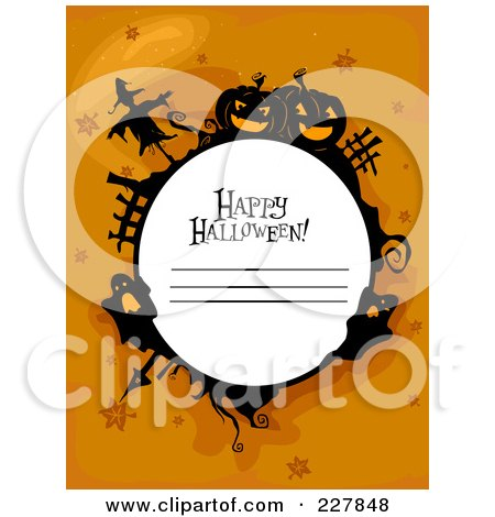 Royalty-Free (RF) Clipart Illustration of a Happy Halloween Greeting With Copyspace Bordered With A Scarecrow, Ghosts And Pumpkins On Orange by BNP Design Studio